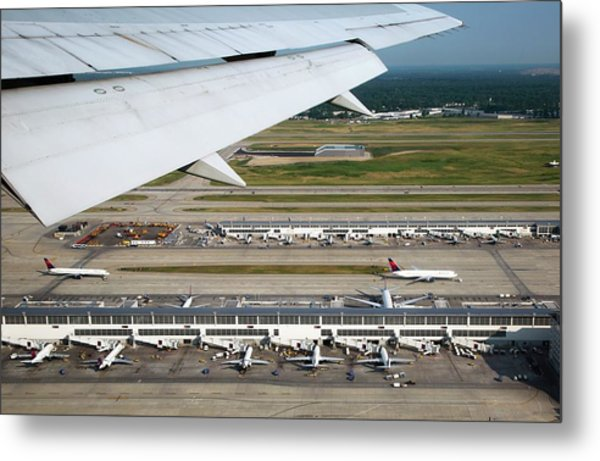Airplane View Of An Airport Metal Print