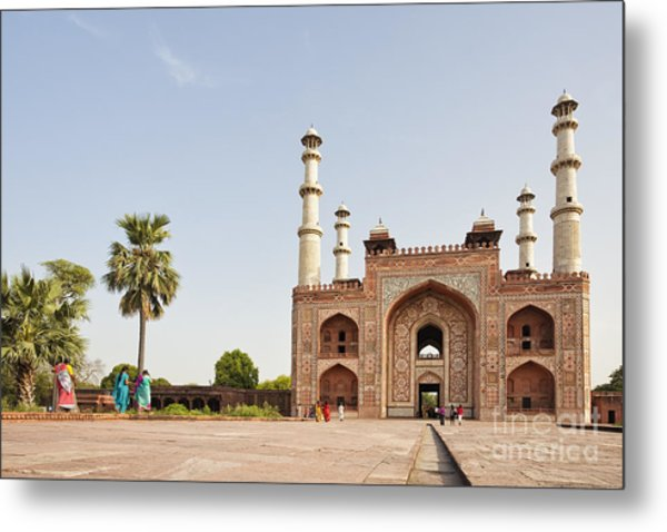 Akbar's Tomb In  India Metal Print
