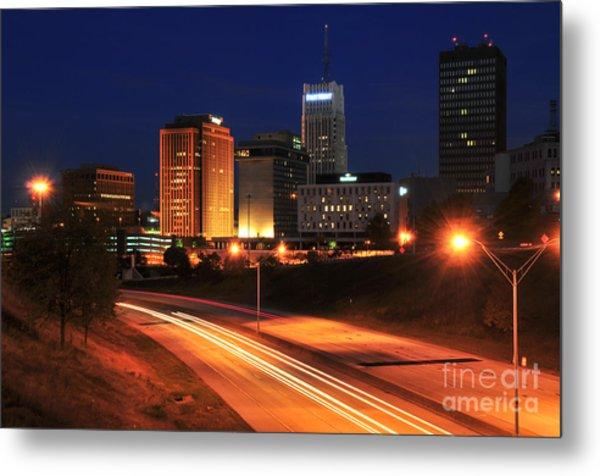 D1u-140 Akron Ohio Night Skyline Photo Metal Print
