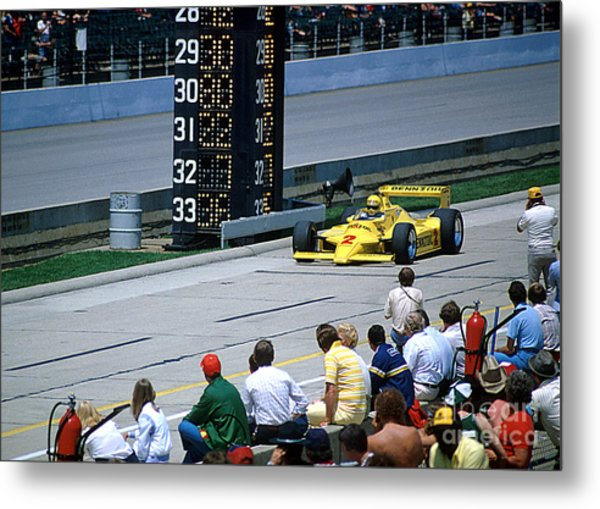 Al Unser Sr. Driving Thru Pit Lane Metal Print