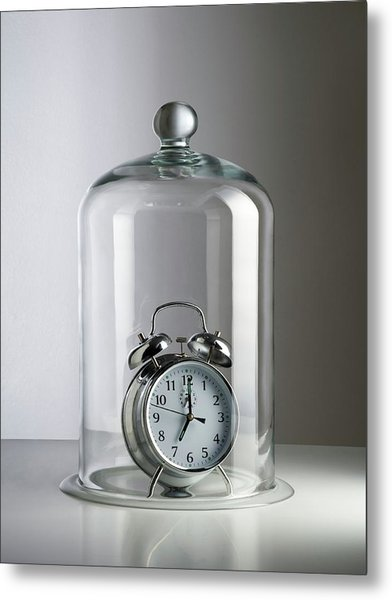Alarm Clock Inside A Bell Jar Metal Print by Science Photo Library