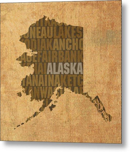 Alaska Word Art State Map On Canvas Metal Print