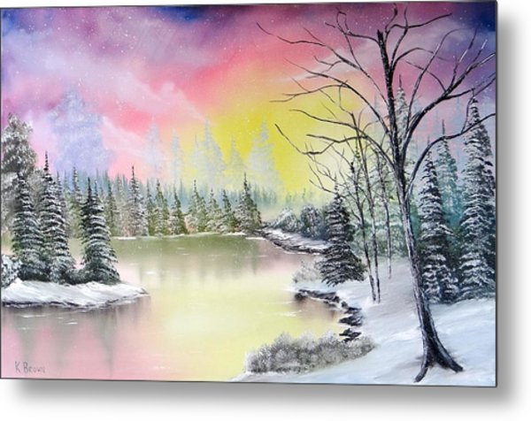 Metal Print featuring the painting Alaskan Sunset by Kevin  Brown