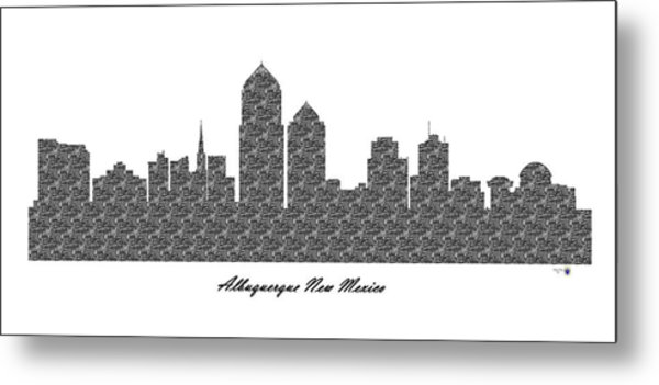 Albuquerque New Mexico 3d Bw Stone Wall Skyline Metal Print