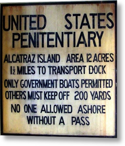 Alcatraz Warning Metal Print