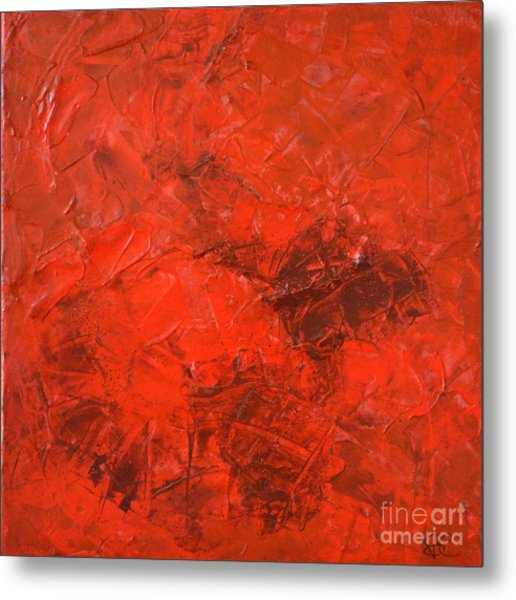 Alchemy In Red - Red Abstract By Chakramoon Metal Print by Belinda Capol