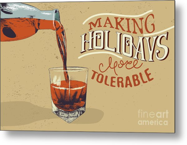 Alcoholic Drink Is Poured From Bottle Metal Print