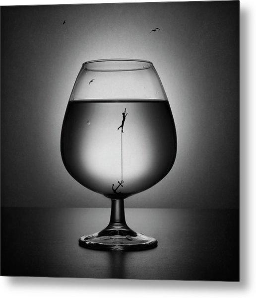 Alcoholism. The Drowning Metal Print
