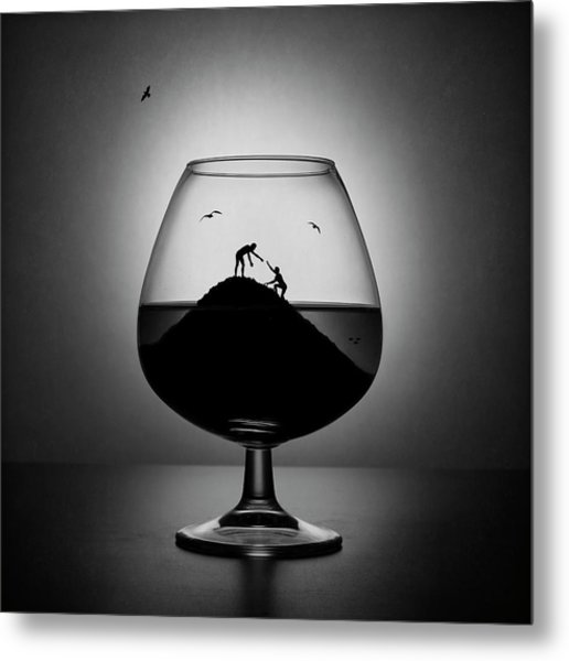 Alcoholism. The Hand Of Help Metal Print