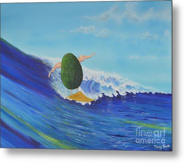 Alex The Surfing Avocado Metal Print