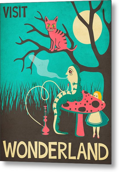 Alice In Wonderland Travel Poster - Vintage Version Metal Print