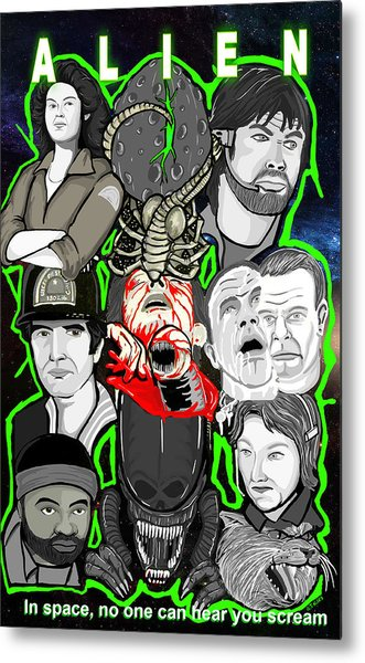 Alien 35th Anniversary Collage Metal Print by Gary Niles