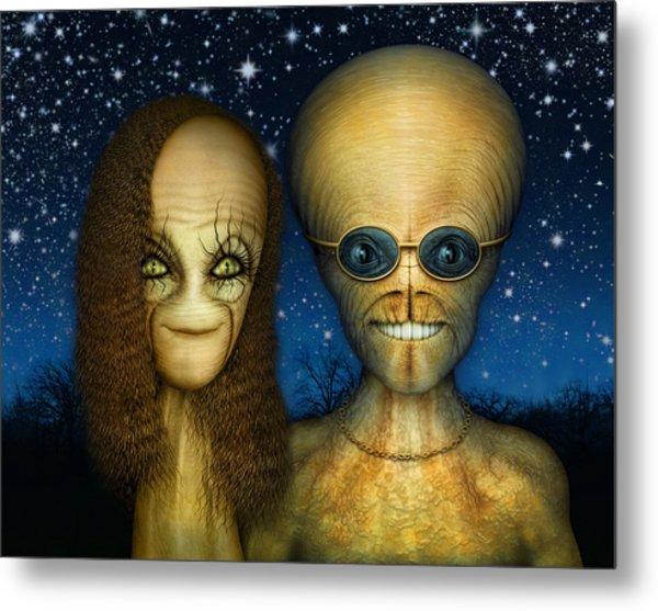 Alien Couple Metal Print