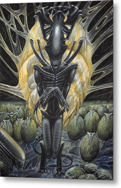 Metal Print featuring the painting Alien Queen And Her Hive by Jennifer Hotai