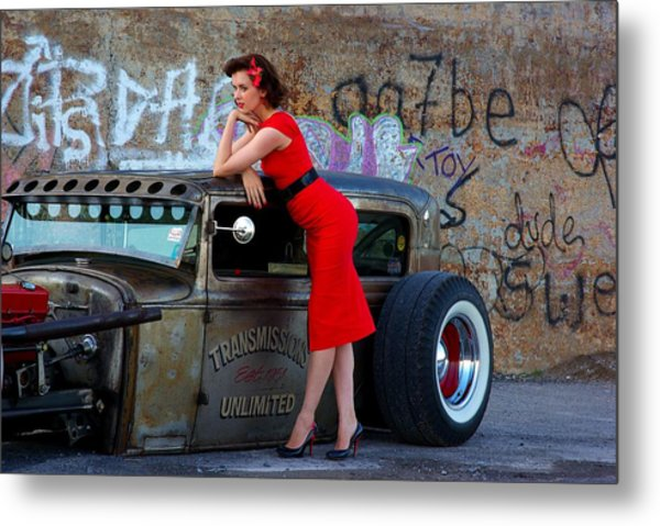 Alisha With Radillac And Graffiti Metal Print by Paul Wash