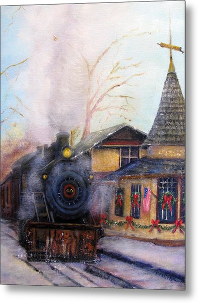 All Aboard At The New Hope Train Station Metal Print