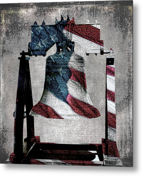 All American Liberty Bell Art_denim Metal Print