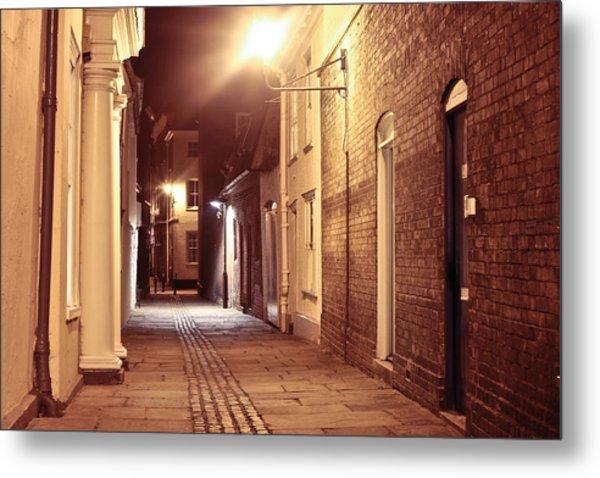 Alley At Night Metal Print