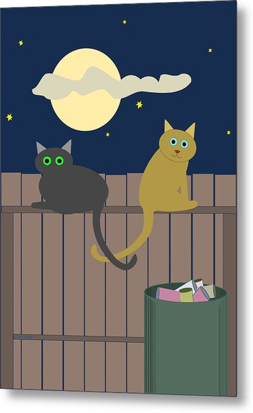 Alley Cats On A Fence Metal Print