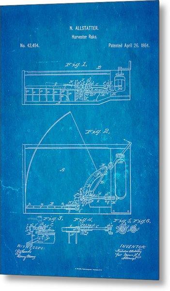 Allstatter Harvester Rake Patent Art 1864 Blueprint Metal Print