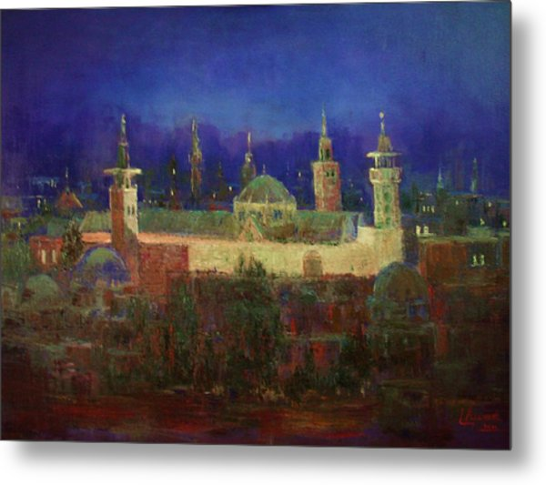Almasjed Alamawe At Night - Damascus - Syria Metal Print