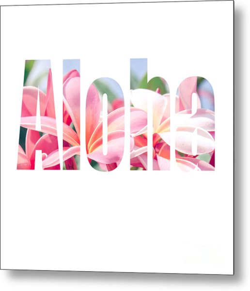 Aloha Tropical Plumeria Typography Metal Print