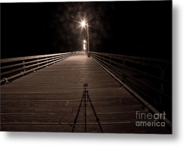 Alone On The Pier Metal Print by Ronald Hoggard