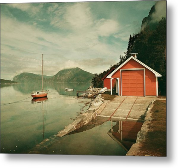 Along The Fjord Metal Print