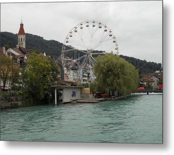 Along The River In Thun Metal Print