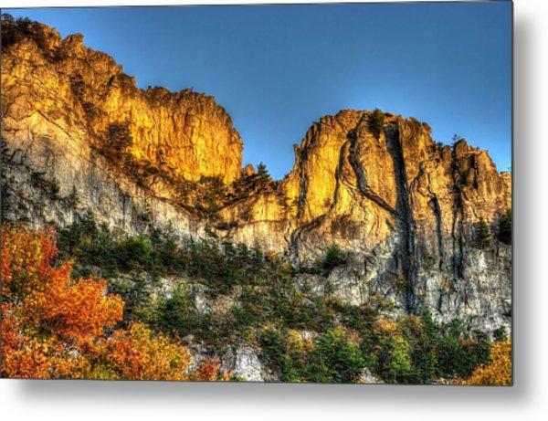 Alpenglow At Days End Seneca Rocks - Seneca Rocks National Recreation Area Wv Autumn Early Evening Metal Print
