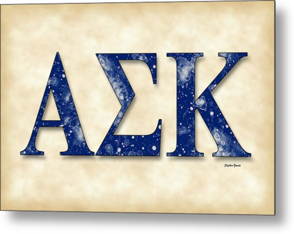 Alpha Sigma Kappa - Parchment Metal Print