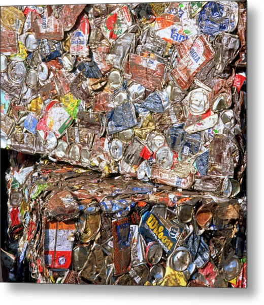 Aluminium Cans For Recycling Metal Print by Alex Bartel/science Photo Library