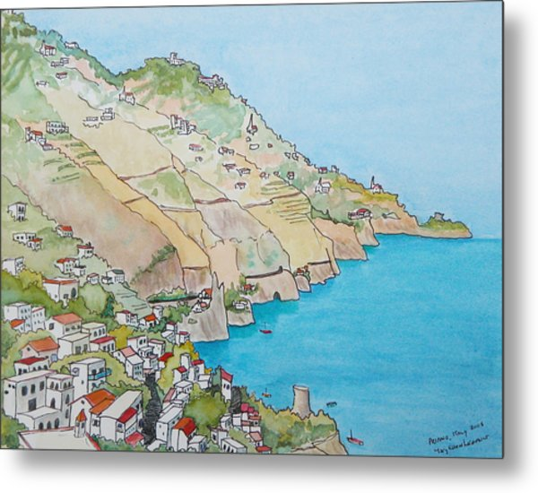 Amalfi Coast Praiano Italy Metal Print