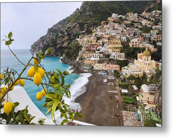Amalfi Coast Town Metal Print