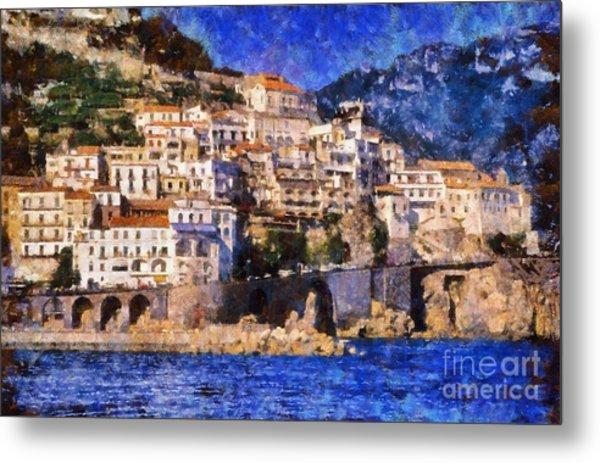 Amalfi Town In Italy Metal Print