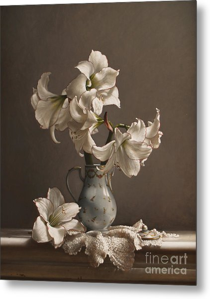 Amaryllis In A French Chocolate Pot Metal Print by Lawrence Preston