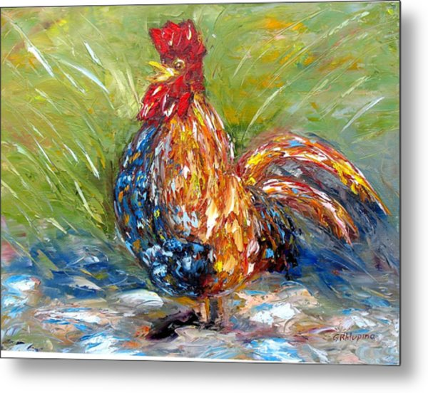 Amazed Rooster Metal Print