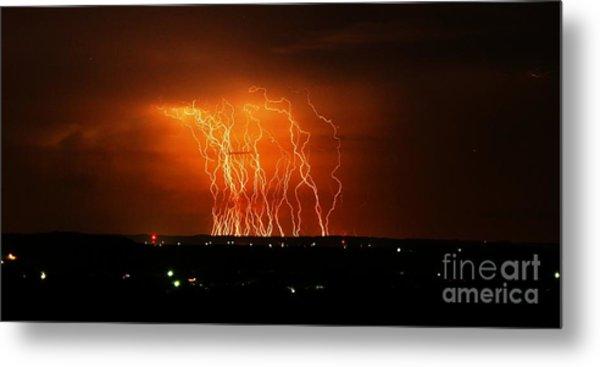 Amazing Lightning Cluster Metal Print