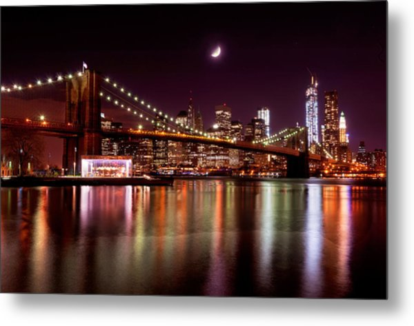 Amazing New York Skyline And Brooklyn Bridge With Moon Rising Metal Print