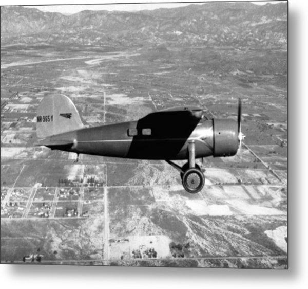 Amelia Earhart In Her Plane Metal Print