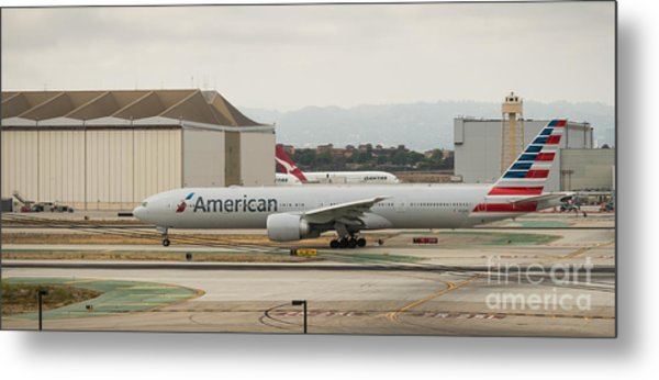 American Airliner On Runway At Lax In May 2014 Metal Print