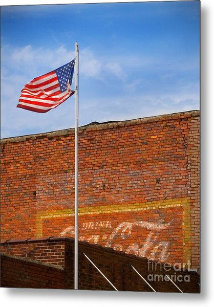 American Classics - Flag And Coke Metal Print