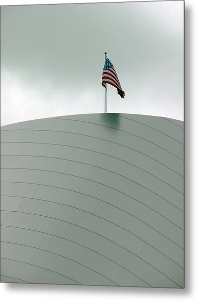 American Flag On Modern Museum In La Metal Print