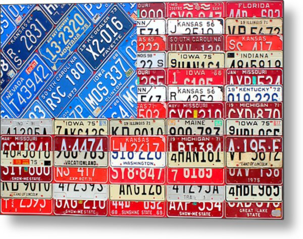 American Flag Recycled License Plate Art Metal Print