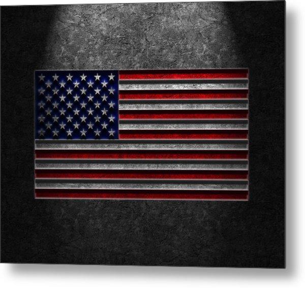 American Flag Stone Texture Metal Print