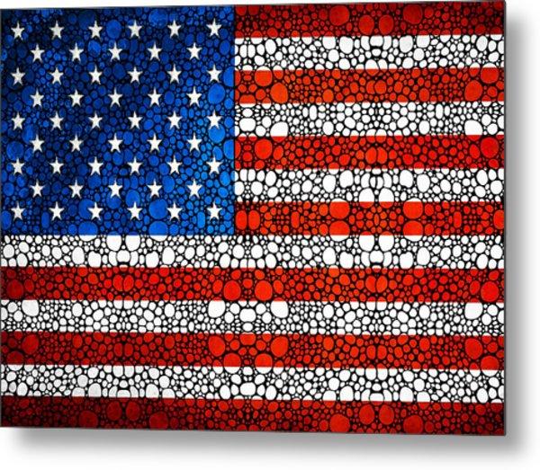 American Flag - Usa Stone Rock'd Art United States Of America Metal Print