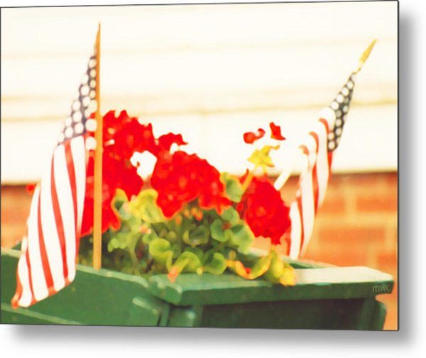 American Flags And Geraniums In A Wheelbarrow In Maine, One Metal Print