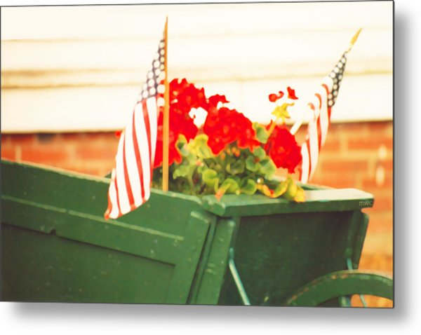 American Flags And Geraniums In A Wheelbarrow In Maine, Two Metal Print
