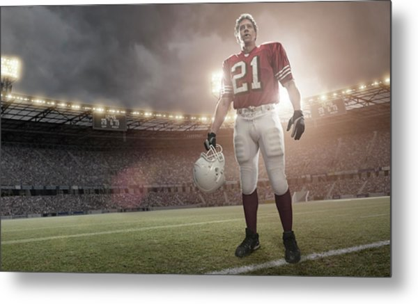 American Football Hero Metal Print by Peepo