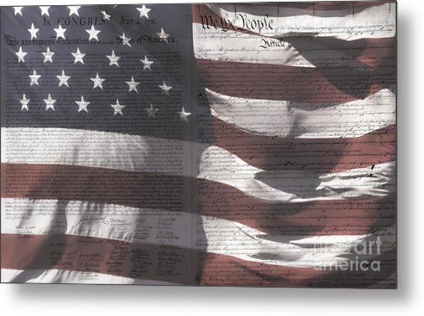 Historical Documents On Us Flag Metal Print
